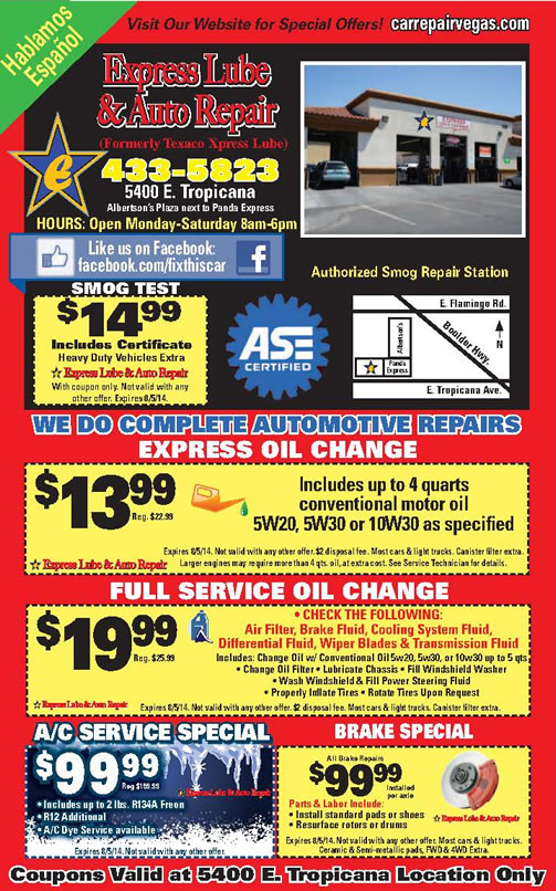 Deals On Car Service And Oil Change In Las Vegas Nv